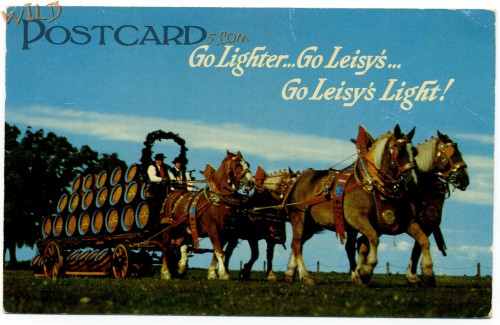 Leisy's Light Beer, trucked by knockoff Clydesdales