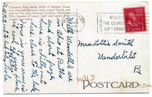 Postcard to Lottie Smith from Willoughby, Ohio