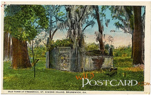 Old Tomb at Frederica (Linen Card from Georgia Archives)