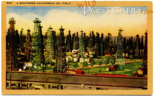 A second oil field postcard (by the Longshaw Card Company, Los Angeles), in case you thought the first one was a fluke