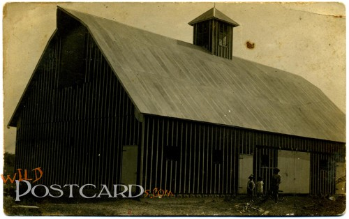 Real photo postcard (RPPC) of a barn