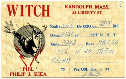 QSL Card from Amateur Radio Station W1TCH, Randolph, Massachusetts