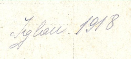 Jiglau 1918 (Note on Back of RPPC)