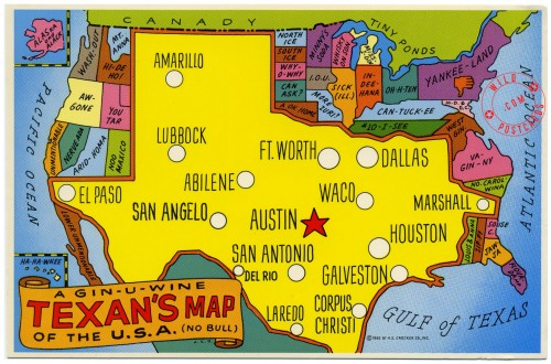 A Gin-u-wine Texan's Map of the U.S.A. (No Bull)