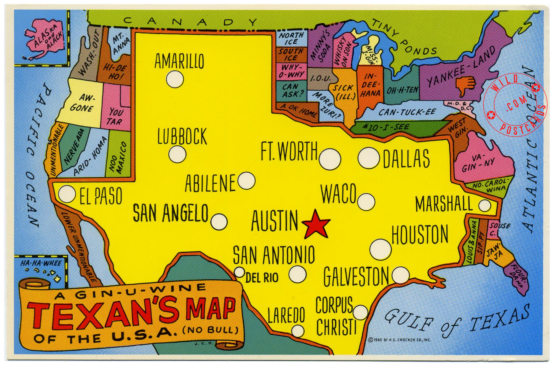 Map Of Texas Us.A Texan S Map Of The Usa Wild Postcards