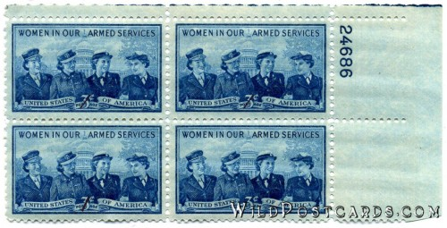 """Women in Our Armed Services"" 3-cent Stamp (Four-Block with Tag)"