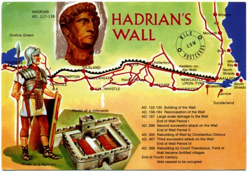 Map showing the route of Hadrian's Wall