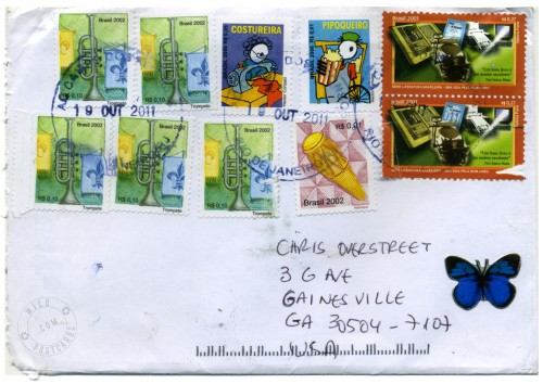 Envelope and stamps from Brasil