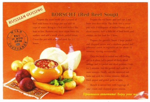 Borscht Recipe Russian Postcard