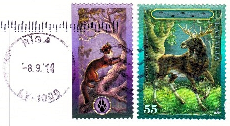 Stamps from Latvia, with Riga Postmark