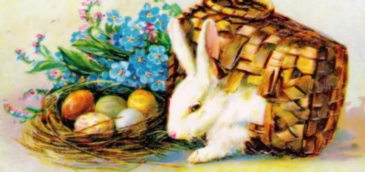 Easter Greetings 1912 Vintage Postcard (Detail)